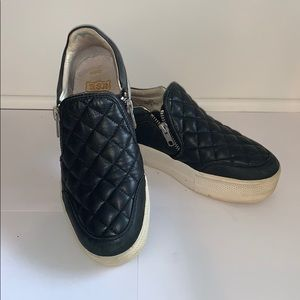 ASH black leather quilted slip on